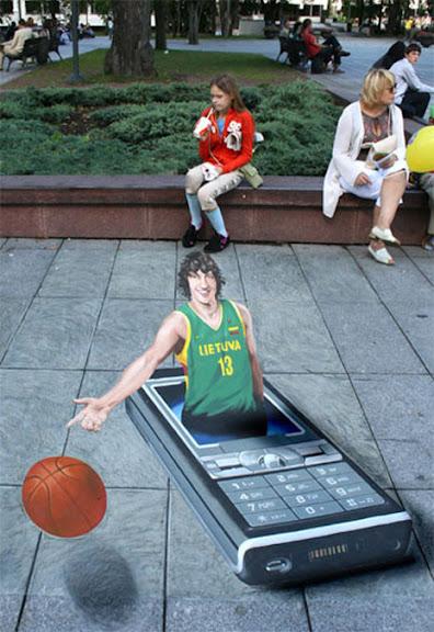 Ejemplos de publicidad 3d en el piso - Sony Ericsson