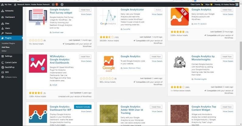 Senarai WordPress Plugins berkaitan Google Analytics