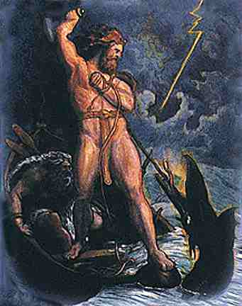 Thor About To Strike The World Serpent, Asatru Gods And Heroes