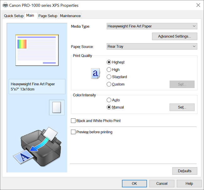 Canon PRO-1000 XPS Driver Main Settings (Windows) for Red River Palo Duro Etching