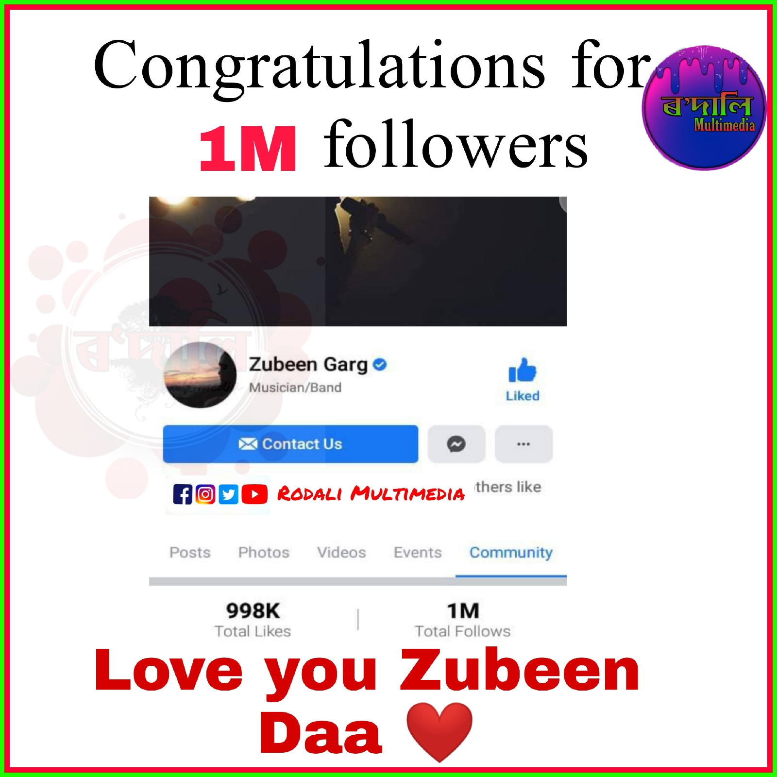 Congratulations for 1m followers