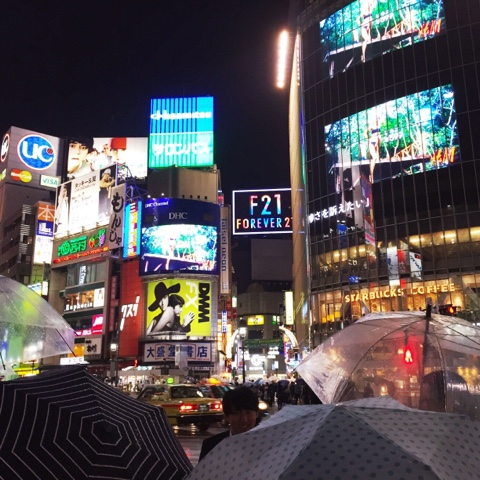 Shibuya crossing in the rain