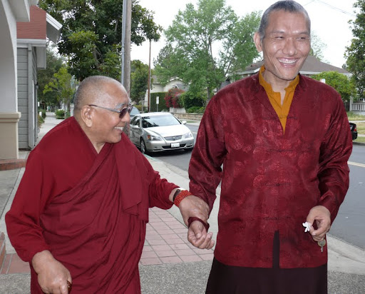 Geshe Sopa and Yangsi Rinpoche, Santa Barbara, California, 2009. Photo by Kalleen Mortensen.