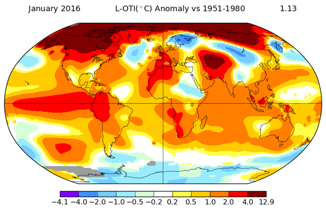 GISS Global Surface Temperature Analysis for January 2016. Graphic: NASA / GISS