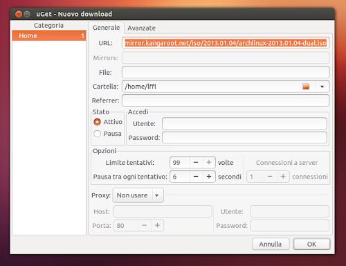 uGet - configura download
