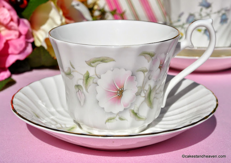 Fluted Swirl Design Pink Beauty Pattern Teacup and Saucer