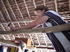 Laying down wire for the lights in the teachers dormitory