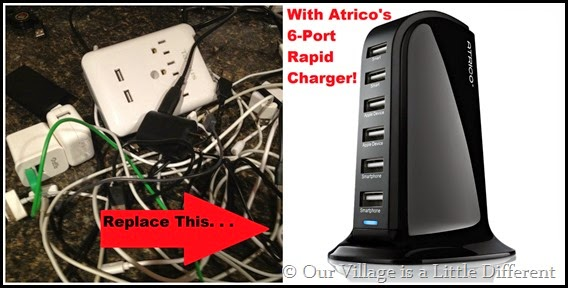Atrico Rapid-Charging 6-Port Desktop USB Charger