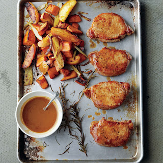 Cider-Dijon Pork Chops with Roasted Sweet Potatoes and Apples recipe | Epicurious.com.