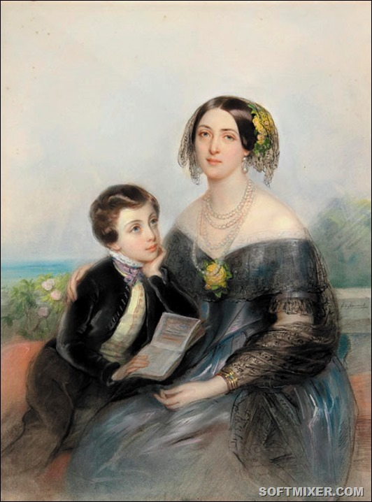 A.Demidova_with_son_Paul_by_L.H.de_Liomenil_(1840s,_priv.coll.)