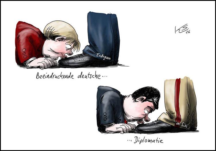 Stuttmann Deutsche Diplomatie durch Füße küssen