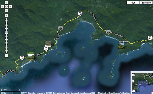 Localisation des Photos (de l'ouest vers l'est) : Itamambuca, Prumirim, Picinguaba