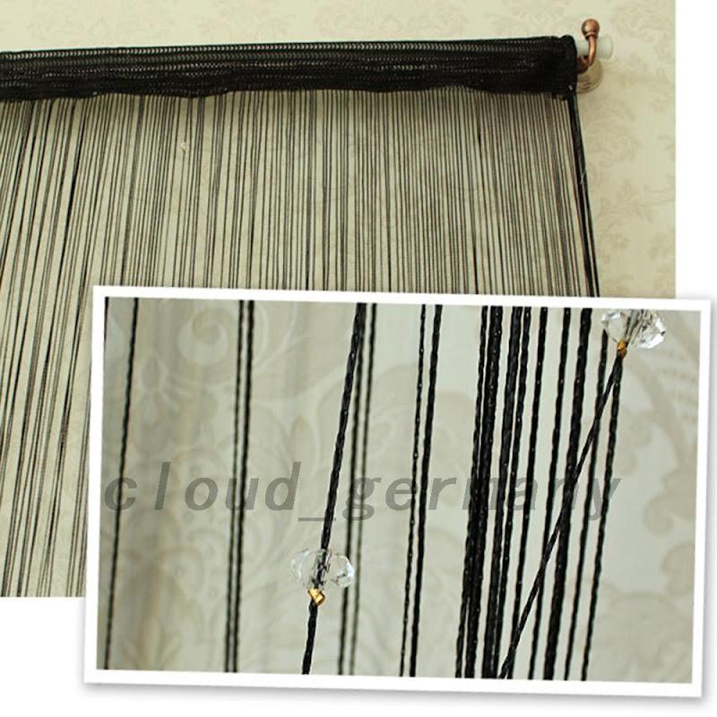 fadenvorhang fadengardine 100 200cm dekoration f r terrassent r balkont r ebay. Black Bedroom Furniture Sets. Home Design Ideas