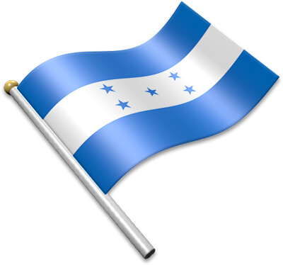 The Honduran flag on a flagpole clipart image
