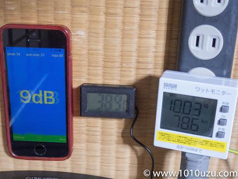 ヒートシンクファン設置後・CPU使用率18%:9dB・38.9℃・78.6W