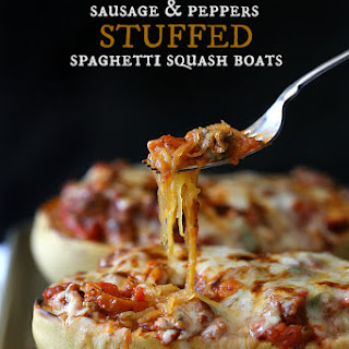 Sausage & Pepper Stuffed Spaghetti Squash Boats