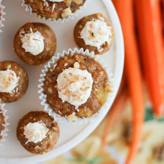 Healthy Carrot Cake Cupcakes with Yogurt Cream Cheese Frosting.