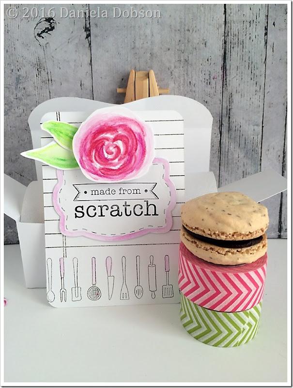 Happiness handmade card and macaron by Daniela Dobson