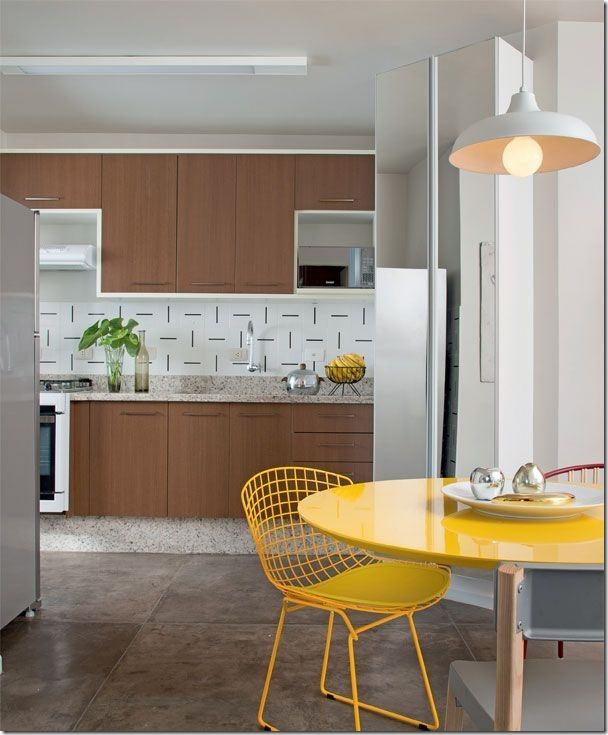 cozinha madeira branco e amarelo