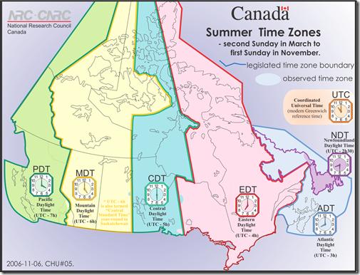 CanadaSummerTimesZones