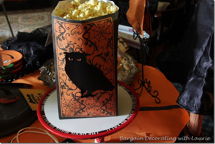 Halloween Table with Popcorn Bag