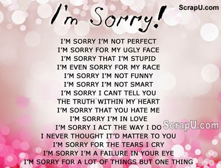 I am Sorry - I Images  Pictures I am Sorry - I Status Sms - apology card messages