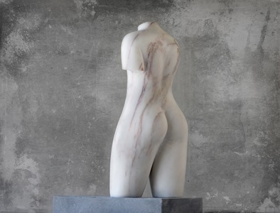 Walking Figure: PORTUGUESE MARBLE, 2015; W 15cm, H 35 cm, D 12 cm; SOLD
