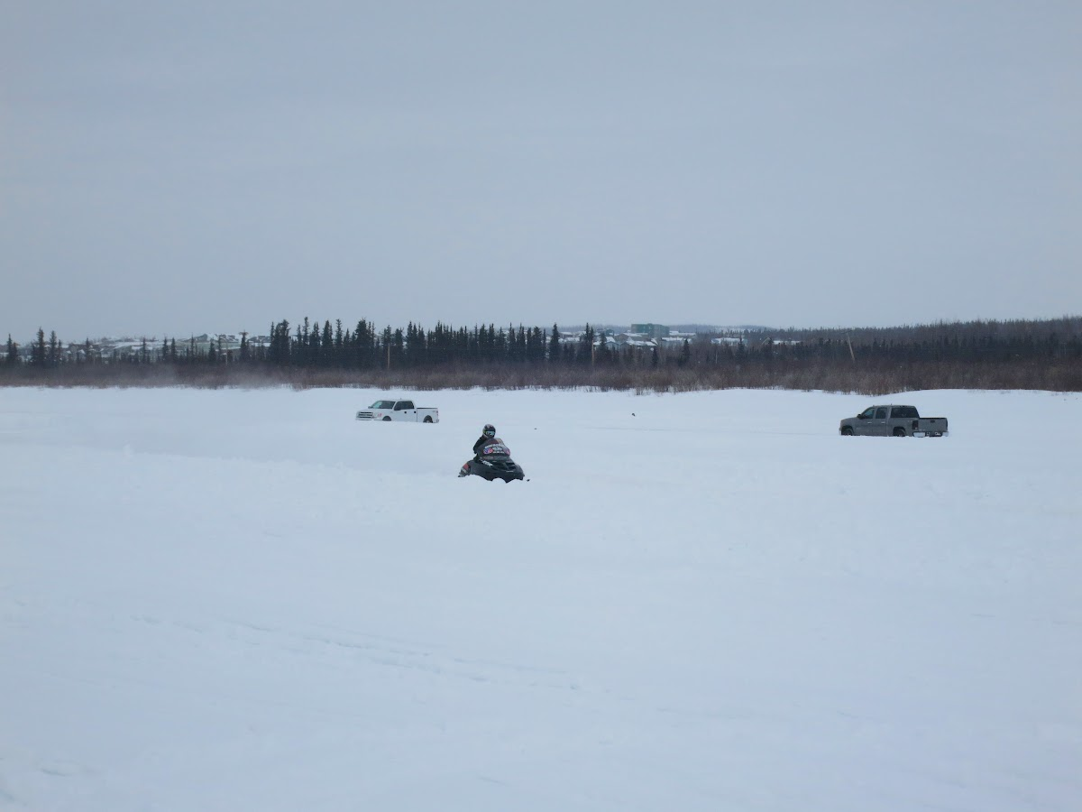 Skidoo driver racing through