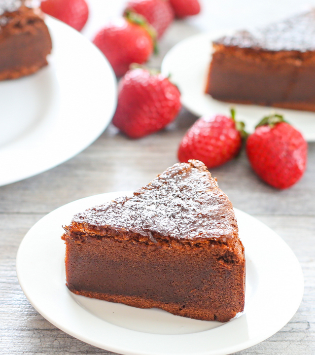 close-up of a slice of Flourless Nutella Cake