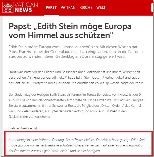 Radio Vatikan Korrektur Edith Stein