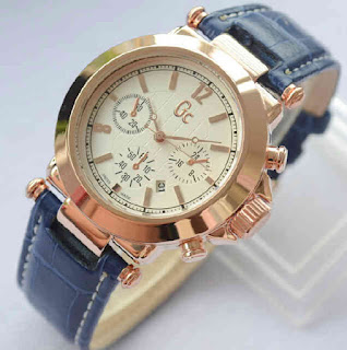 jam tangan Gc date ring rosegold red brown leather