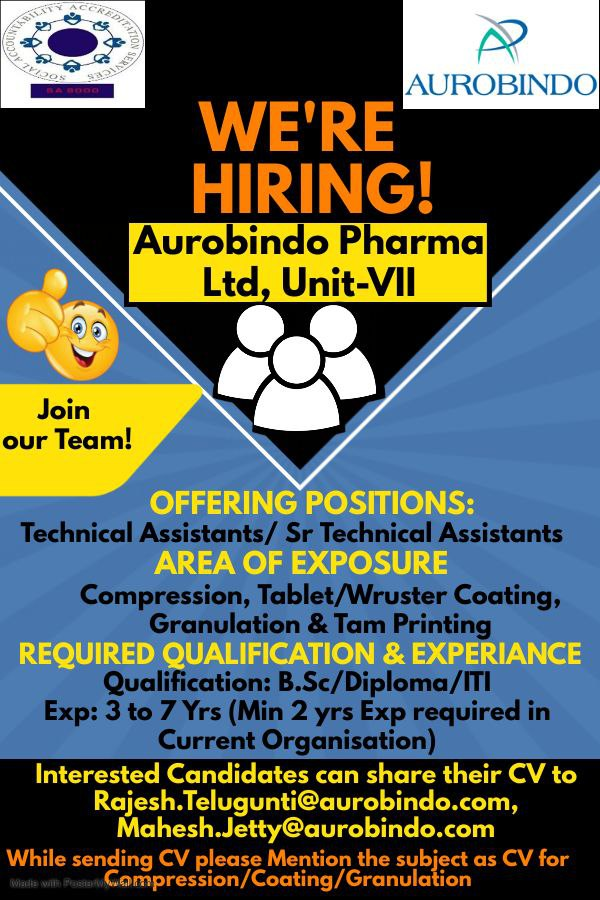 Opening At Aurobindo Pharma For Production Technical Assistant