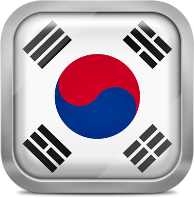 South Korea square flag with metallic frame