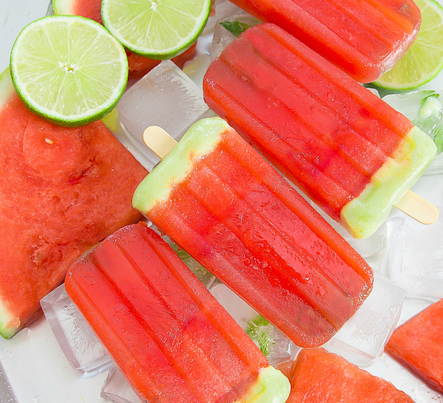 overhead photo of Watermelon Lime Ice Pops
