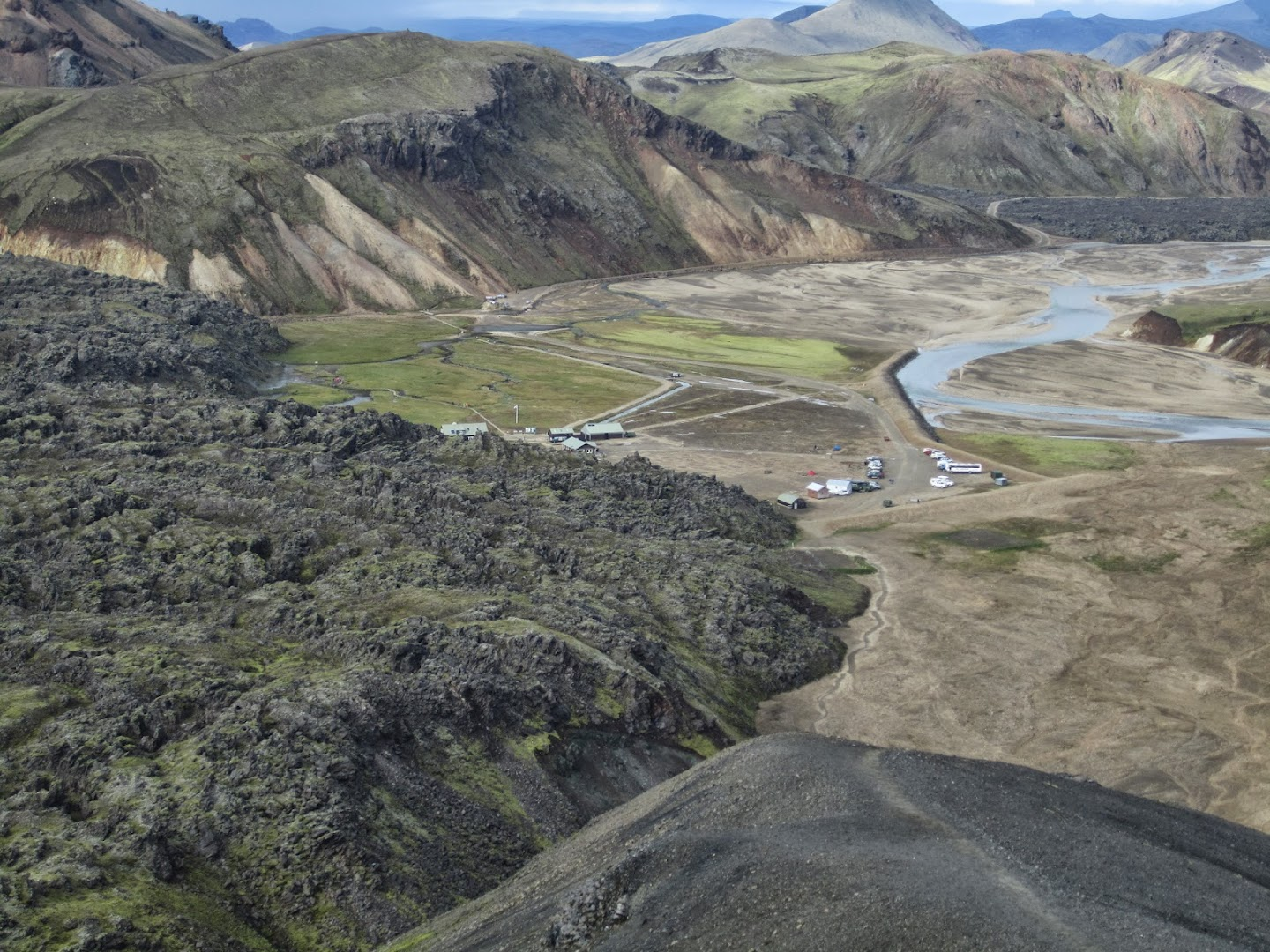 Landmannalaugar camp lies just next to lava flow. VK