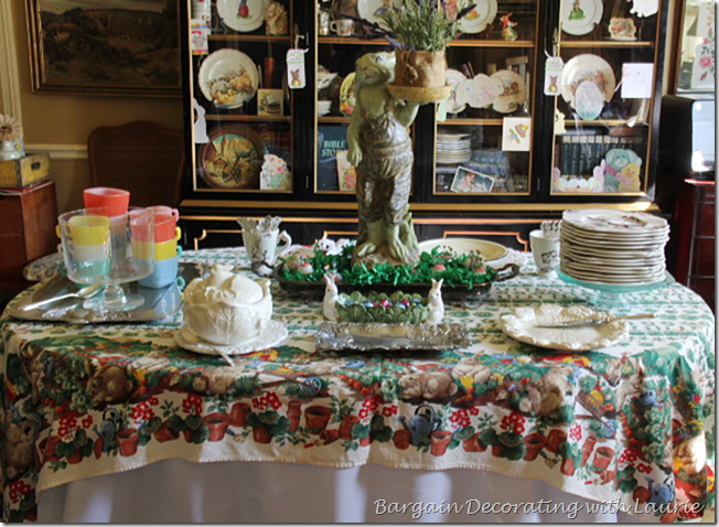 Tablescape for Easter Dessert Buffet