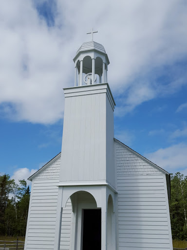 The 1831 chapel's exterior and interior.  From Acadian History Comes Alive in a New Brunswick Village