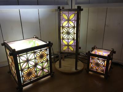 組子細工の行燈 和風ランプ