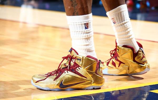 LBJ Wears Shiny Nike LeBron 12 Cavs Gold Finals PE in Game 6