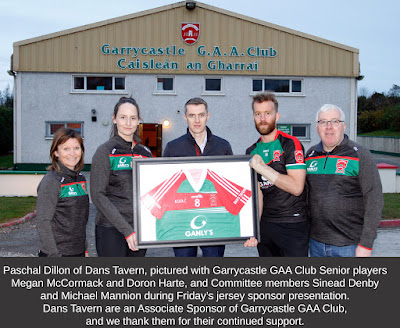 Paschal Dillon of Dans Tavern, pictured with Garrycastle GAA Club Senior players Megan McCormack and Doron Harte, and Committee members Sinead Denby and Michael Mannion during Fridayís jersey sponsor presentation.  Dans Tavern are an Associate Sponsor of Garrycastle GAA Club, and we thank them for their continued support.  Photo: Ashley Cahill/AC Sports Images