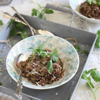 Buckwheat Risotto With Mushrooms And Leeks.