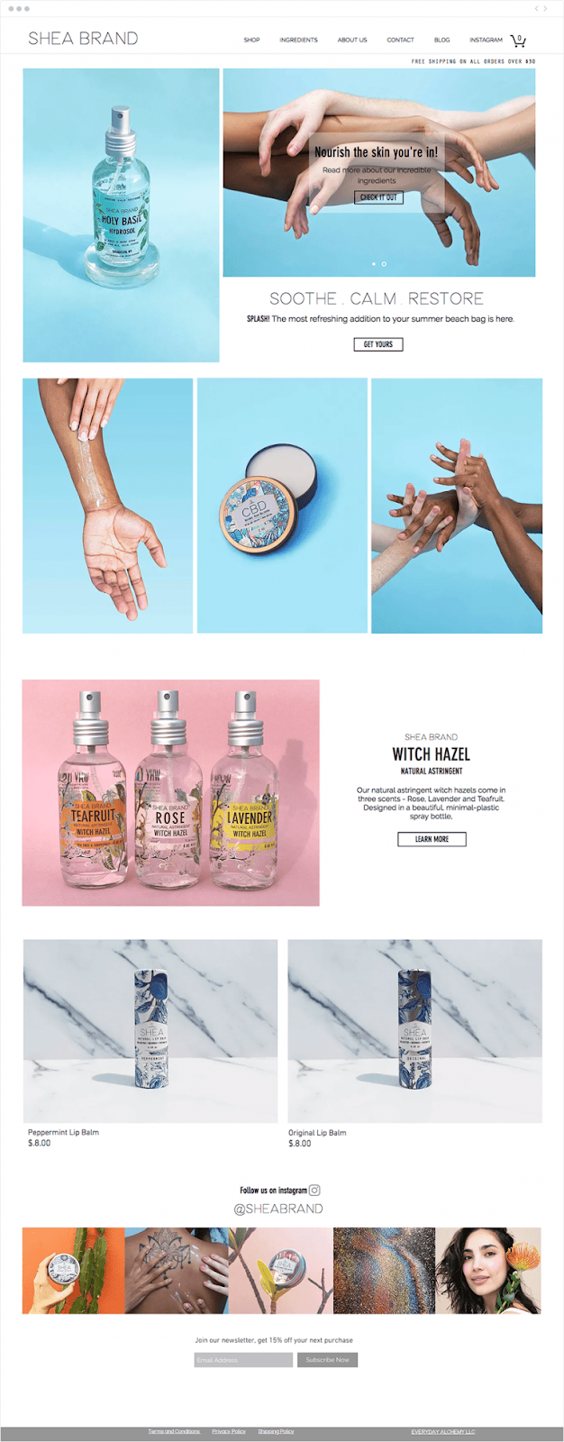 Screenshot of ecommerce store showcasing products with gorgeous photography.