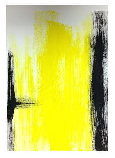 Black white yellow 1 22x30 - Acrylic on paper.  Artist Manny Martins-Karman