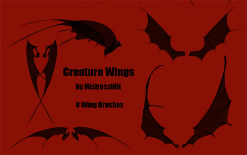wings photoshop brushes-bat and dark creatures