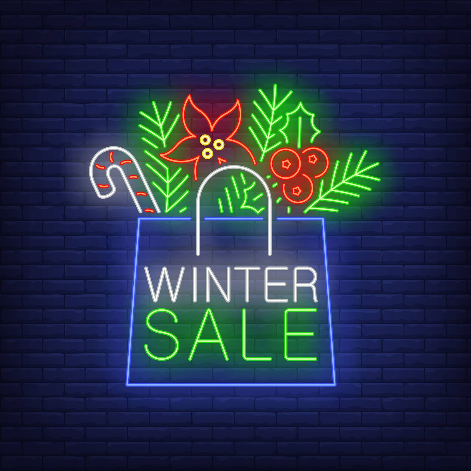 Winter Sale Banner Paper Bag Neon Style Free Download Vector CDR, AI, EPS and PNG Formats