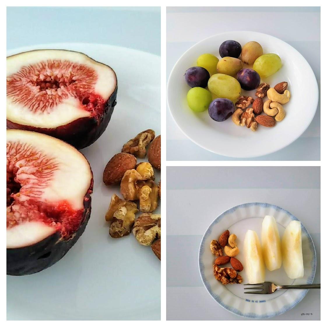 ミックスナッツと果物3種類がお皿に。