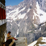 1979.07 Pyrenees Serradets Hut Nick Sheriff and Robert Read.JPG