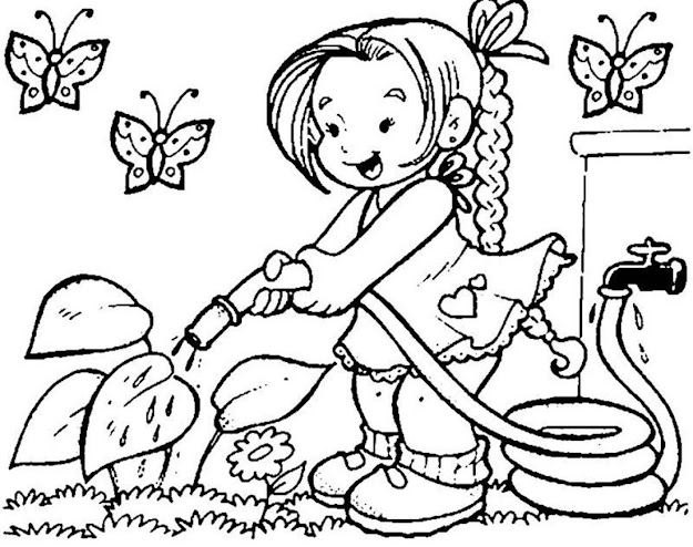 Coloring Pages Printable Spring Girl