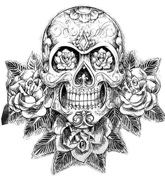 Free Coloring Page Coloringtatouageskullskeleton Magnificient Tatoo Of  Skull
