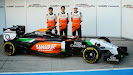 Sergio Perez, Daniel Juncadella & Nico Hulkenberg Force India F1 VJM07 launch